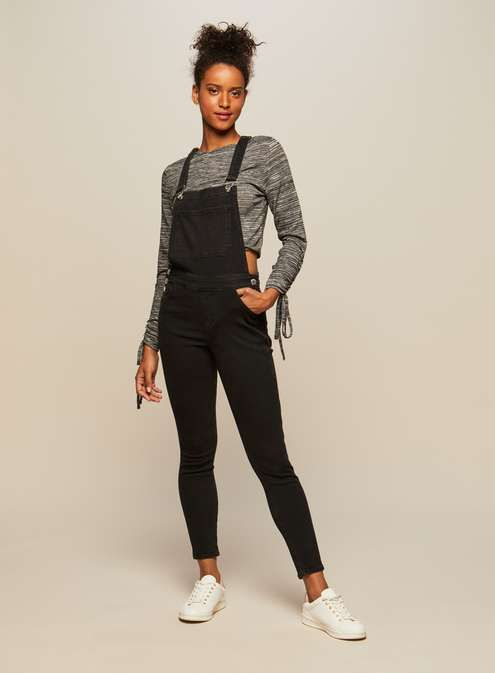 Black skinny fit dungaree - with a striped top underneath