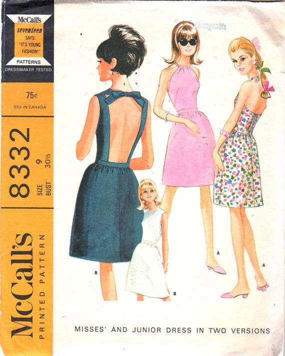 1960s McCalls 8332  Cocktail Dress Pattern Peek A Boo Back ala Oleg Cassini Style for Jackie O womens vintage sewing pattern by mbchills
