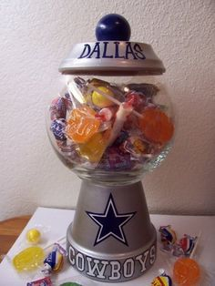Dallas Cowboys Candy Jar, I'm so going to make this for my husbands desk. Which he shares with Texans fans...lol