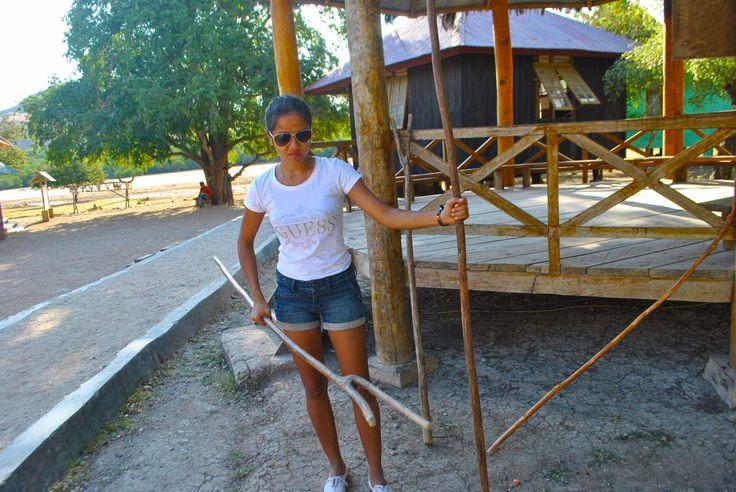 Indonesia brown Woman Ranger in Rinca Island