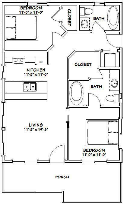 Details about 24×32 House — 2 Bedroom 2 Bath — PDF Floor Plan — 768 sq ft — Model 1C