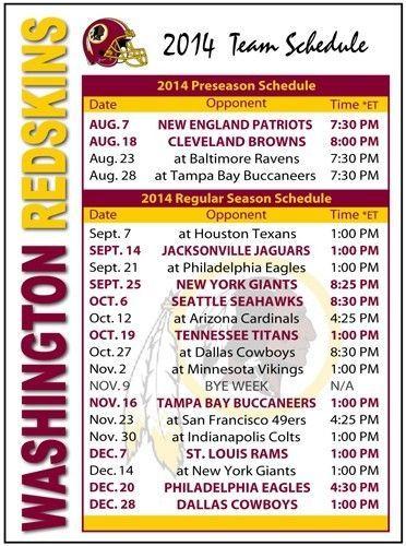 2014 Washington Redskins Football Schedule Magnet