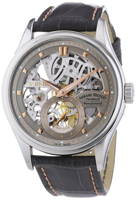 Armand Nicolet 9620S-GL-P713GR2 - Reloj analógico mecánico para hombre, correa de cuero color gris