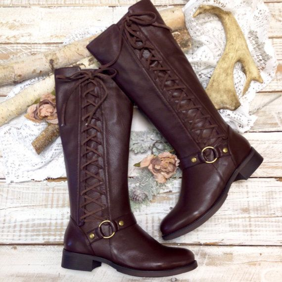 Brown leather look side lace up boot, women tall boots, boots  lacing. winter boots, cute boots ties, ladies fall boots, riding boots,  shoe