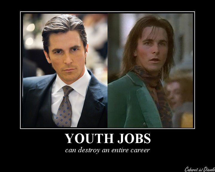 """Youth Jobs can really be a problem!! XD On the left: from the movie """"Batman Begins"""". On the right: from the movie """"Velvet Goldmine"""". Youth Jobs, Zachary Quinto: Youth Jobs, Chris Pine: Youth Jobs, ..."""