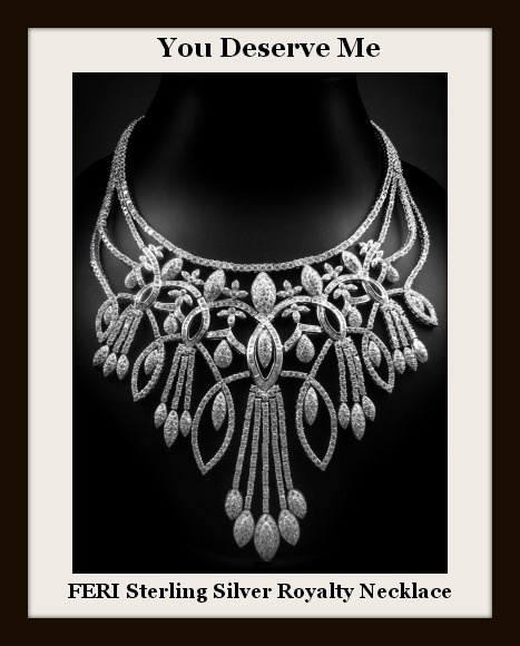 Global Wealth Trade-FERI .925 fine sterling silver necklace with 0.1 micron natural rhodium. The Royalty Necklace: Set with: - AAA white cubic zirconia.  Click image for more info, Global Wealth Trade.  http://globalwealthtrade.com/jovialdesigns/opportunity.html?cntylng=eng_can