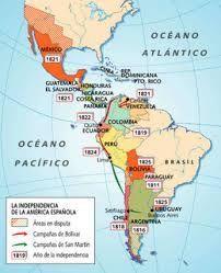 1810-1833 - Guerra de la Independencia Hispanoamericana. - Conflictos que se desarrollaron en el Imperio español en América