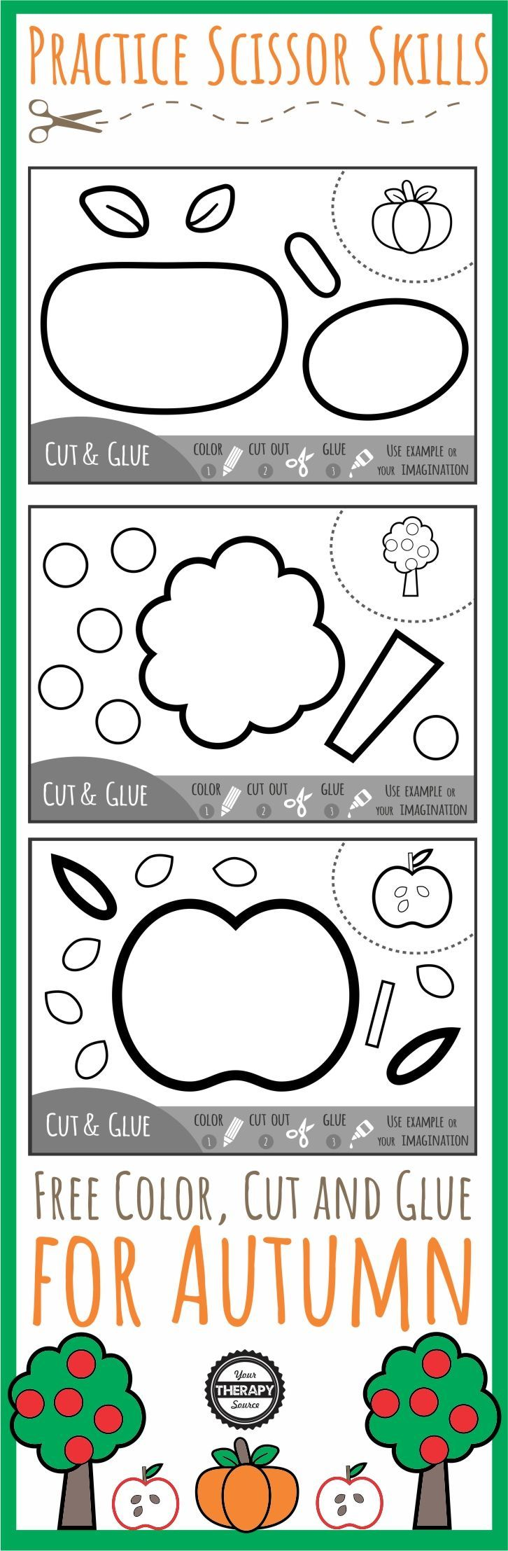 Color Cut Glue Scissor Practice for Fall - three FREE black and white  printables to practice