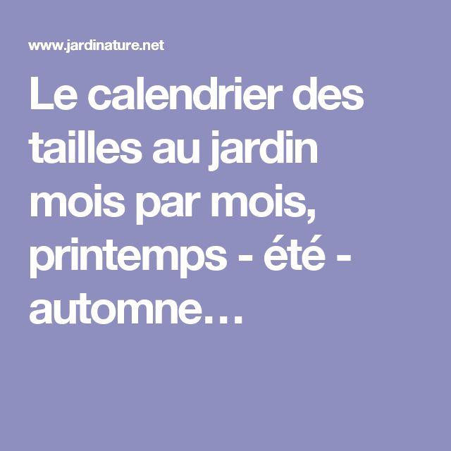 Le calendrier des tailles au jardin mois par mois, printemps - été - automne…