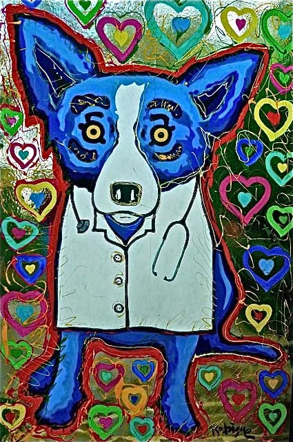 Blue Dog, stemming from a recent health scare | The Art of George Rodrigue  georgerodrigue.com
