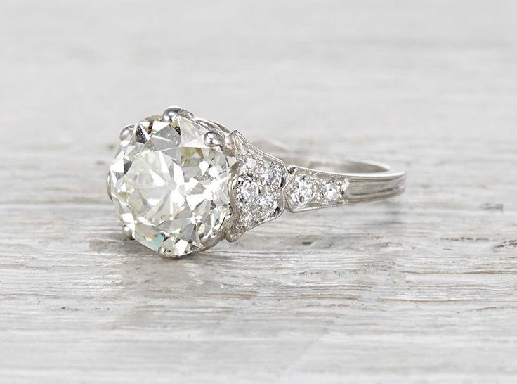 Vintage Edwardian Engagement Ring Made In Platinum And