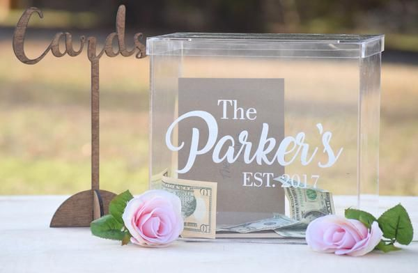 The adorable box is perfect for keeping your wedding cards organized during the reception. Box has removable lid with 7-inch card slot and measures 9.75 x 8.5 x 8.25 inches. The personalization is las