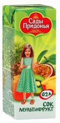 Сады придонья сок мультифруктовый с 12 мес 0,2л  — 28р. -------- для питания детей старше 3-х лет    Состав: апельсиновый сок, ананасовый сок, яблочный сок, персиковое пюре, пюре из киви, сок маракуйи    без добавления сахара  Сады Придонья     Для наших маленьких потребителей мы предлагаем соки и пюре из фруктов и овощей в разных форматах упаковки. Самый популярный формат 0,2 л с 2015 года приобрёл новую инновационную форму упаковки -Tetra Pak Slim Leaf с оригинальными боковыми гранями…