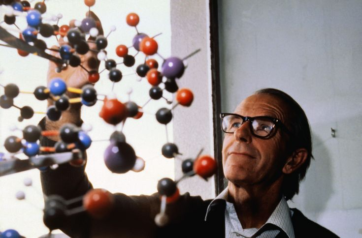 Frederick Sanger, two time winner of the Nobel Prize in chemistry (1958 and 1980), with DNA