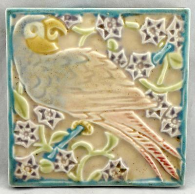 Rookwood Pottery Parrot Tea Tile