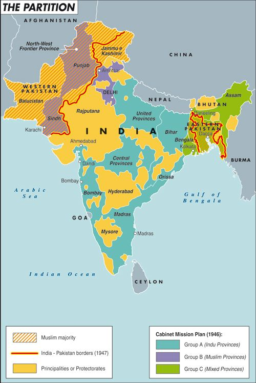 The partition of the Indian territory during the 1800s. The British territories, the border lines and the Cabinet Mission Plan. By Laura Canali for Heartland. #map #india