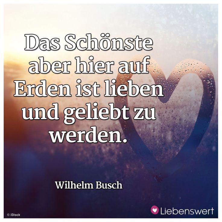 Das Schönste aber hier auf Erden ist lieben und geliebt zu werden. (Wilhelm Busch) #sprüche