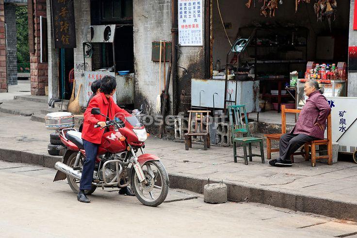 Motorbiker, Fenghuang town, Hunan, China