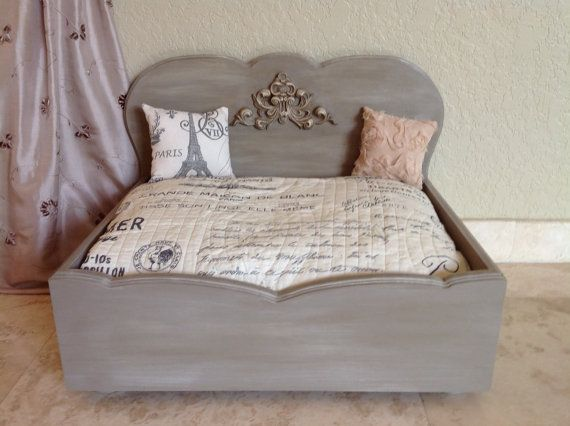 French Provincial Designer Wood Dog Bed  Très by RubyPetal on Etsy...ultimate daphne dog bed!