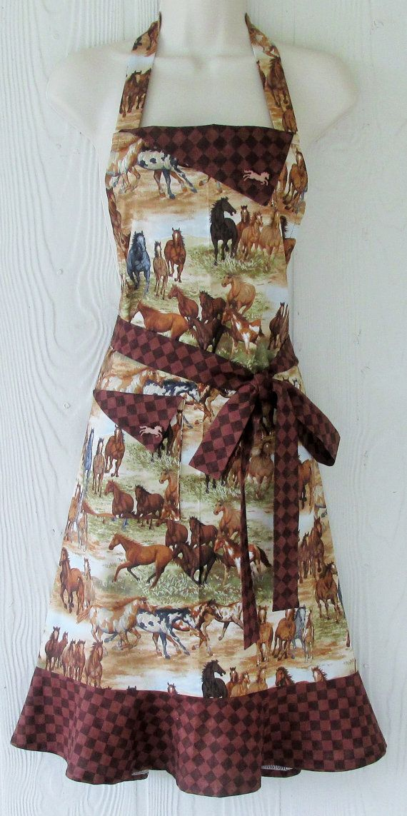Wild Horses Apron Apron for Horse Lovers Retro by KitschNStyle
