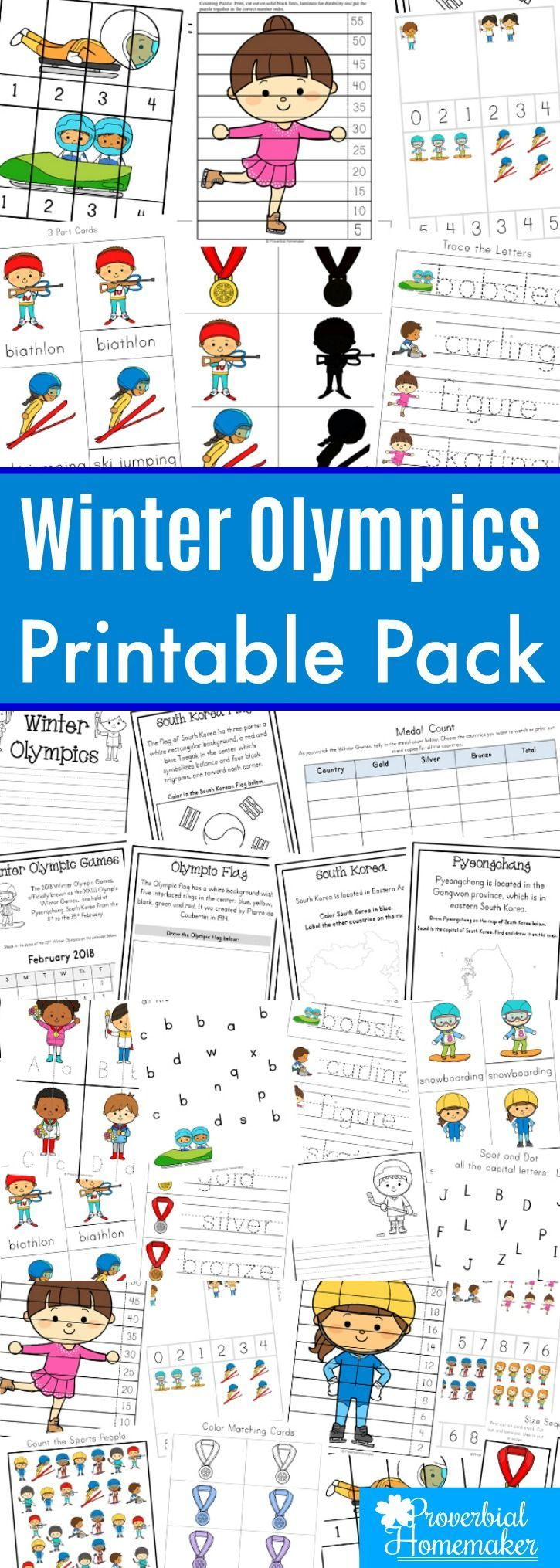 Learn about the Winter Olympics with this fun printable pack! Great for kids 2-9 years old and covering the 2018 Olympic Winter Games.   #winterolympics #olympics #wintergames #2018olympics #printables #homeschool #homeschoolprintables #freebie #freebies
