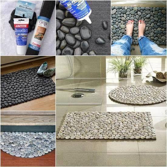 Tapete de seixo. A cola de silicone liquido, usada para fixar espelho em parede!. Pode ser usada um tapete comum. Pedra tem em floricultura, é de jardim.