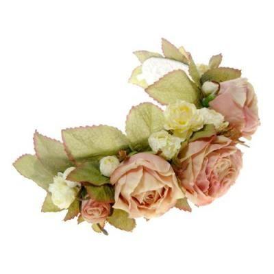 髪飾り・ヘッドドレス/オールドイングリッシュローズのボンネット(ピンク) - ウェディングヘッドドレス&花髪飾りairaka