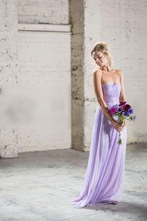 Lilac Ruched Chiffon A-line Strapless Long Bridesmaid Dress