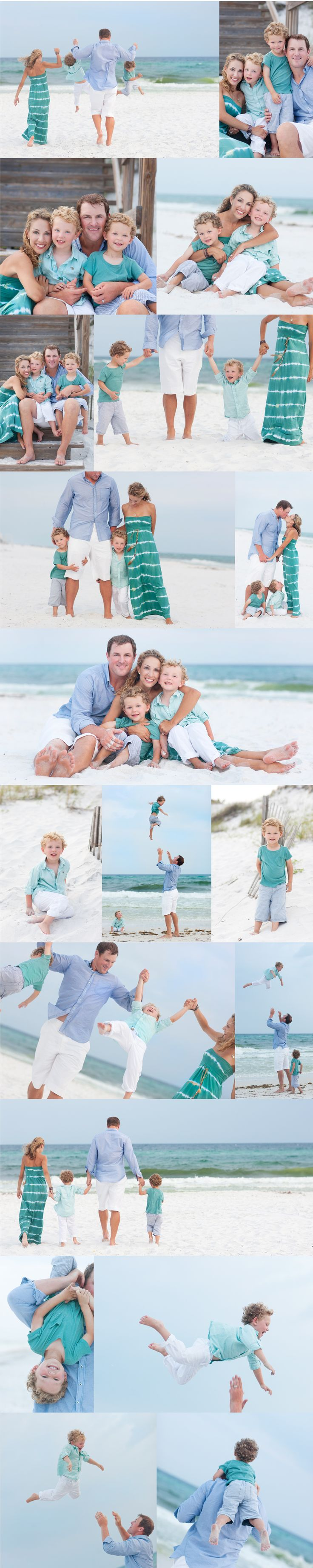 Beautiful Family Beach Poses family portrait ♥ love the outfit colors!
