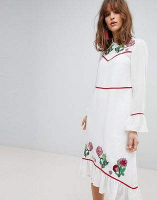 03f8dc86956 Image 1 of ASOS Embroidered Yoke Western Midi Dress