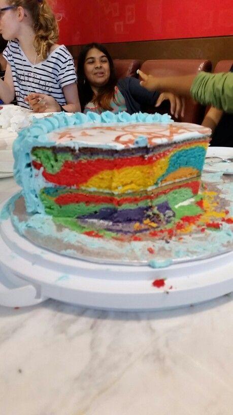 Ani's 13th Birthday cake. Ani wanted a rainbow cake.