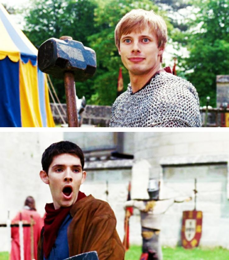"""Merlin is making that face because he just realized that this is the Arthur face from all those """"Oblivious Arthur"""" memes."""