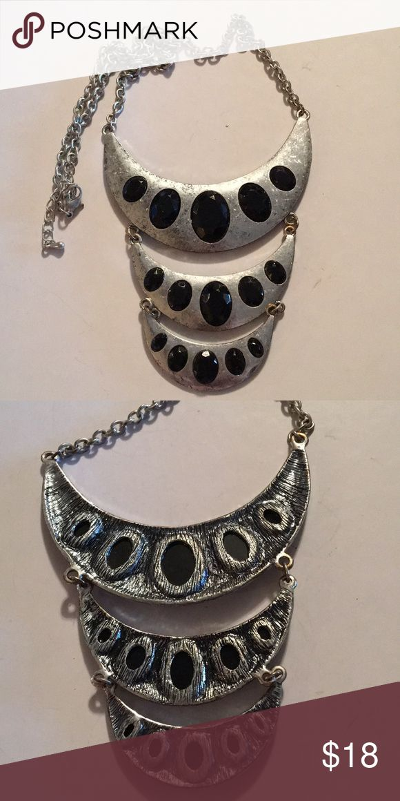 "Three Tier Silver & Black Neckless Three Tier Silver & Black Neckless Approximately 8"" Jewelry Necklaces"