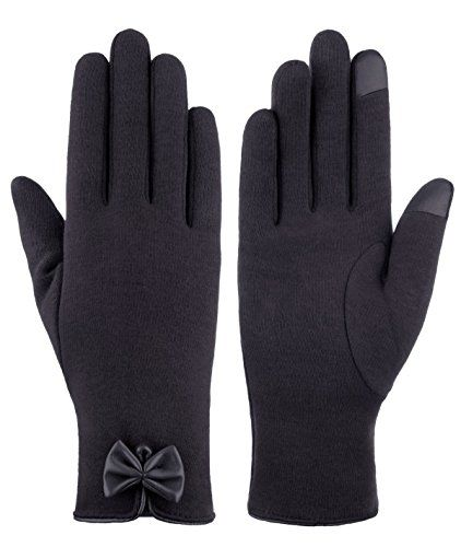 IL Caldo Womens NEW Bowknot TouchScreen Cold Weather Thick lining Outdoor GlovesBlack