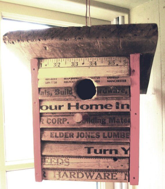 So whimsical! OUR HOME Reclaimed Wood and Yard Stick Bird House #LiquidGoldSalvagedWood