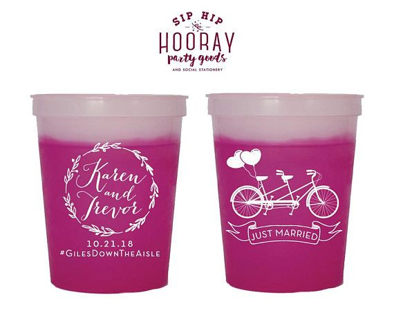 Tandem Bike Cup Just Married Wedding Reception Cups Party Cups Custom Cups Color Changing Cup Mood Cups Tandem Reception Gifts 1839 by SipHipHooray