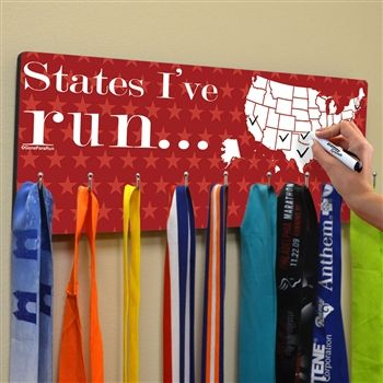 Dry Erase Hooked On Medals Hanger Running the Usa Map | Running Medal Hangers | Running Medal Displays | Medal Displays for Runners