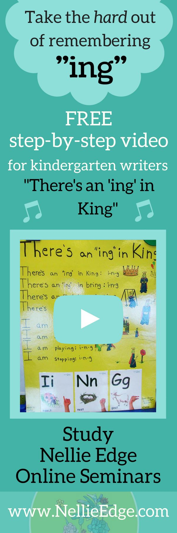 """Make kindergarten phonics learning easy and fun: Teach the King of """"ing!"""" Enjoy free video clip from Nellie Edge Online Seminar #3, """"Accelerated Literacy with High-Frequency Sight Words."""" http://nellieedge.com/professional-development/ Build stamina for kindergarten writing workshop with Nellie Edge """"Sing, Sign, Spell, and Read"""" program at http://www.nellieedge.com/read-sing.htm#program 