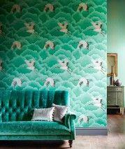 Inola (Verde, Beige, Bianco crema brillante, Marrone scuro, Oro perlato) | Carta da parati glamour | Motivi di carta da parati | Carta da parati degli anni 70