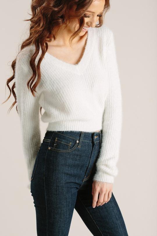 f7b9b4bb51 Chloe Off White Eyelash Crop Sweater in 2019