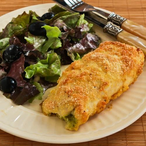 Recipe for Baked Chicken Stuffed with Pesto and Cheese; this one will wow your friends!  [from Kalyn's Kitchen]