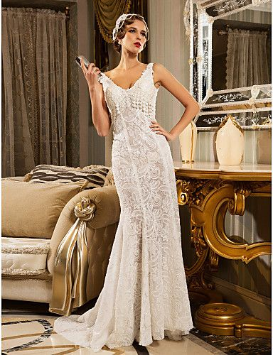Trumpet/Mermaid V-neck Court Train Lace And Organza Wedding Dress - USD $ 399.99