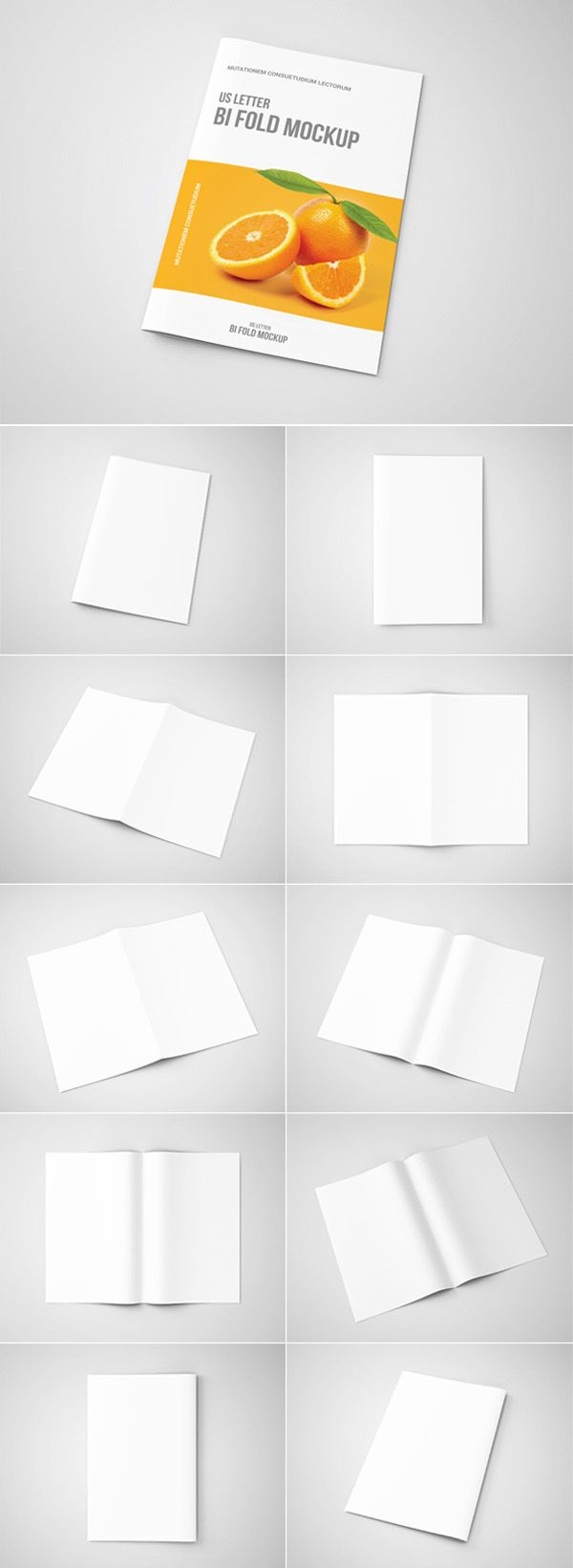 Bi-Fold Brochure Mock-Up - US Letter psd mockups, product mockups, presentation mockups, mockup templates