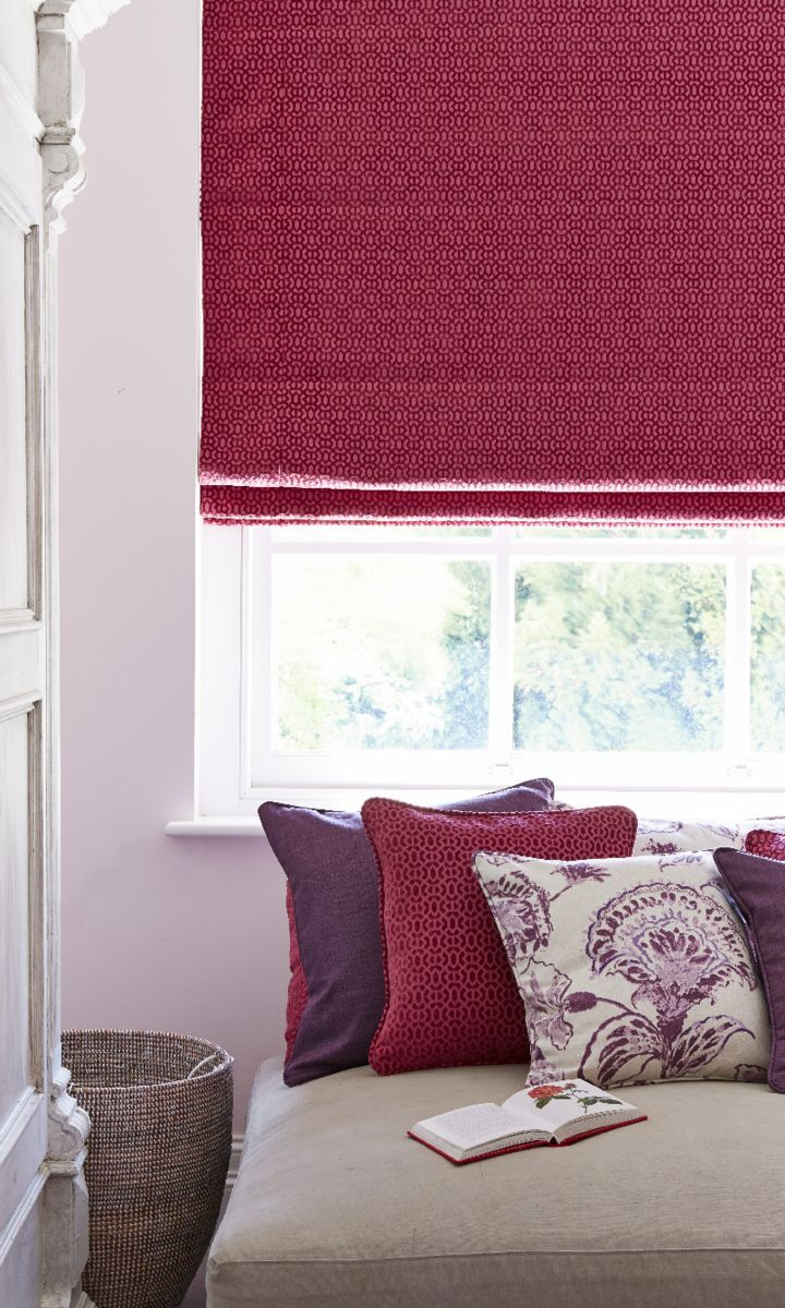 Hillarys and House Beautiful collection - Lattice Raspberry Roman blinds www.hillarys.co.uk/