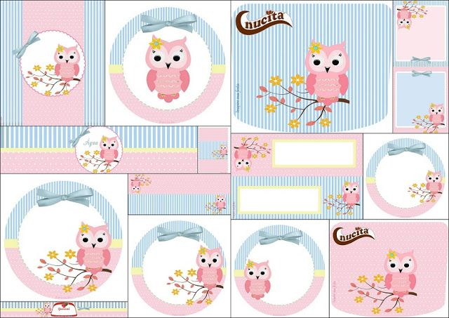 Lindo Búho Rosa: Etiquetas para Candy Bar para Imprimir Gratis.