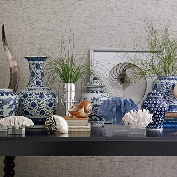 Blue & White Swallow Tail Ginger Jar, 16; Williams Sonoma