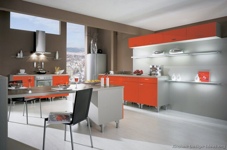 Kitchen idea of the day a gallery of modern orange for Alno kitchen cabinets
