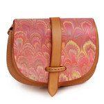 Marbled Leather Shoulder Bag