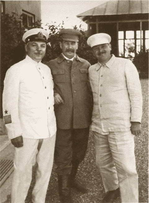 On Stalin's dacha in Sochi: KE Voroshilov, IV Stalin and AA Zhdanov. 1936 (Andrei Zhdanov 1896-1948 The Soviet party and state leader. )