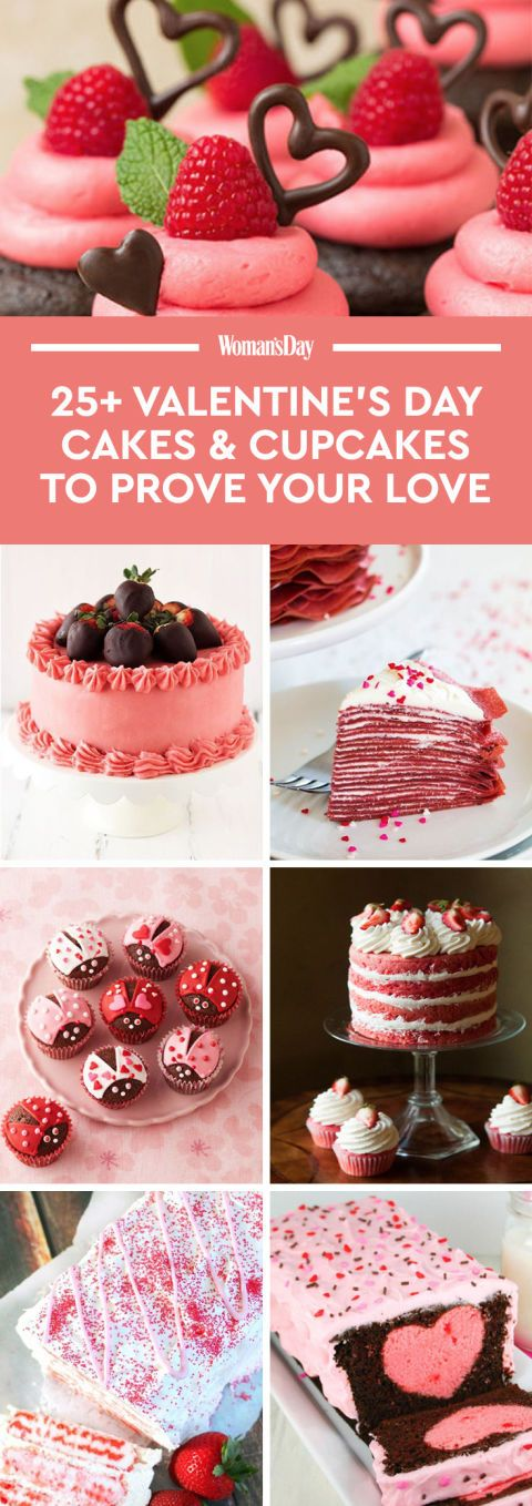 27 Valentine's Day Cakes & CupCakes That Really Prove Your Love -- (few cookie cakes, too) -because who doesn't love a sweet treat! [] Woman's Day.com Staff on Pinterest for more.